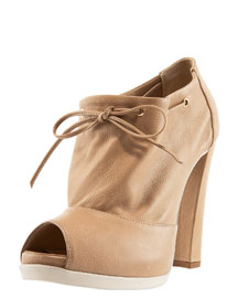 Fendi Tie-Top Peep-Toe Bootie
