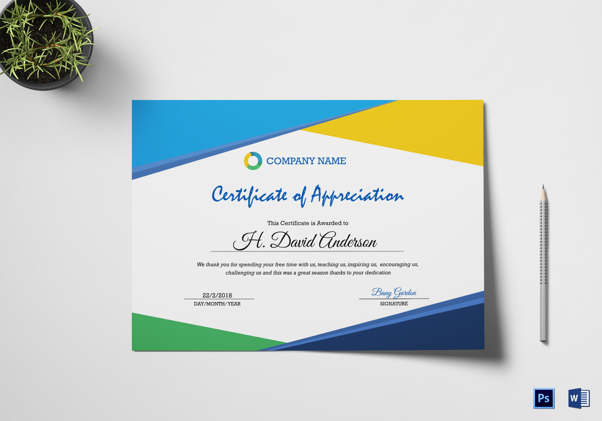 Company Appreciation Certificate Design Template In Psd Word