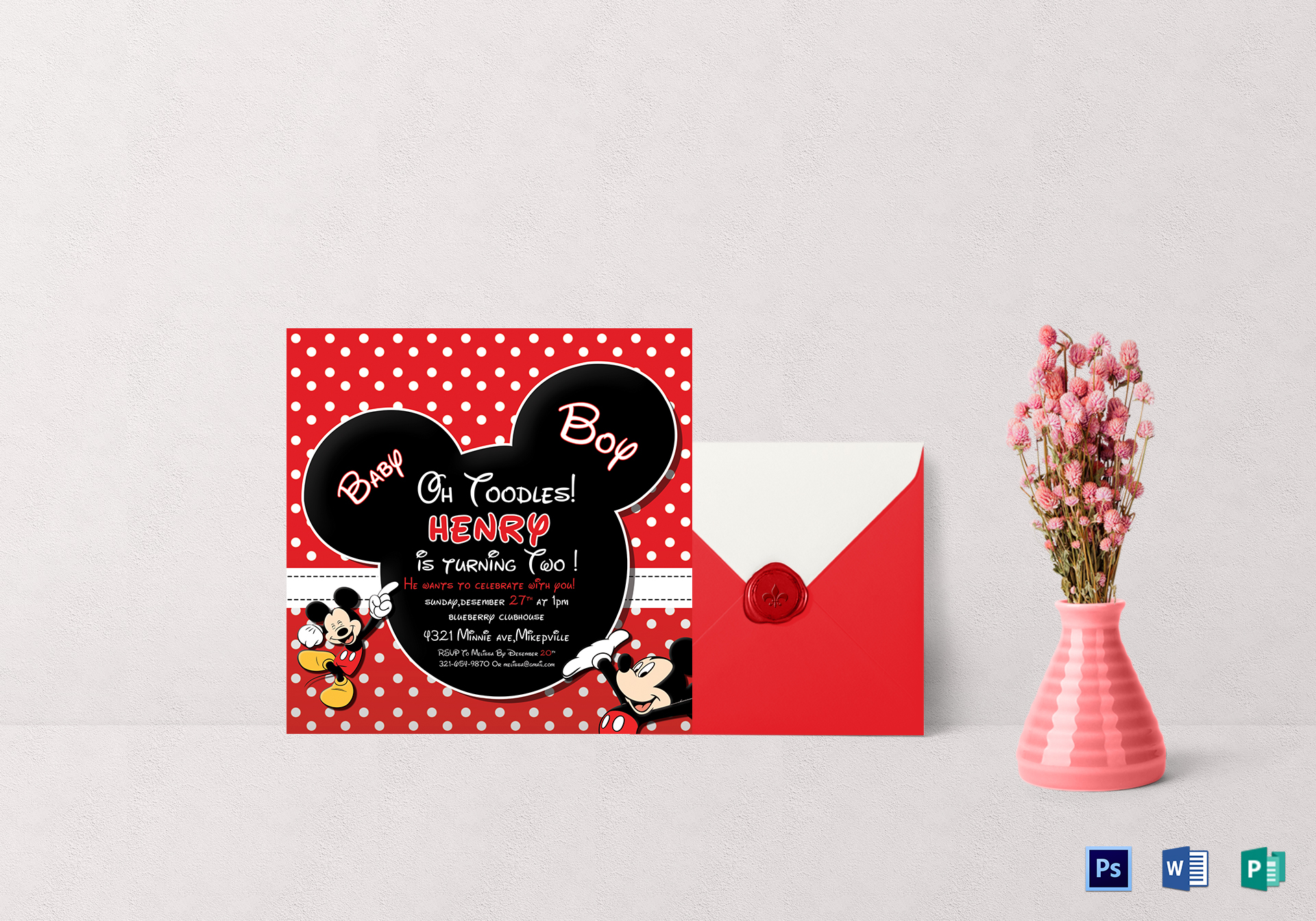 cute mickey mouse birthday invitation