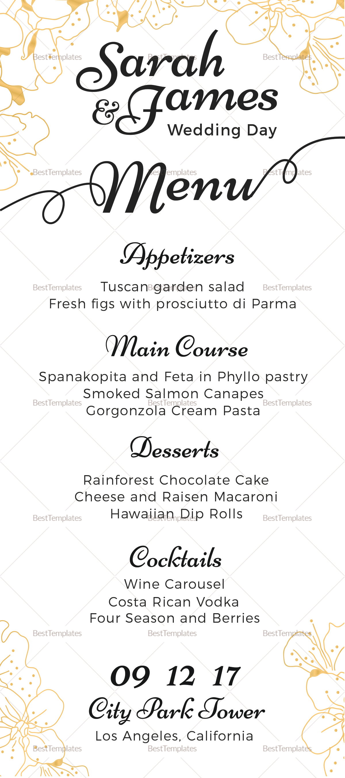 Reception Wedding Menu Design Template in PSD Word