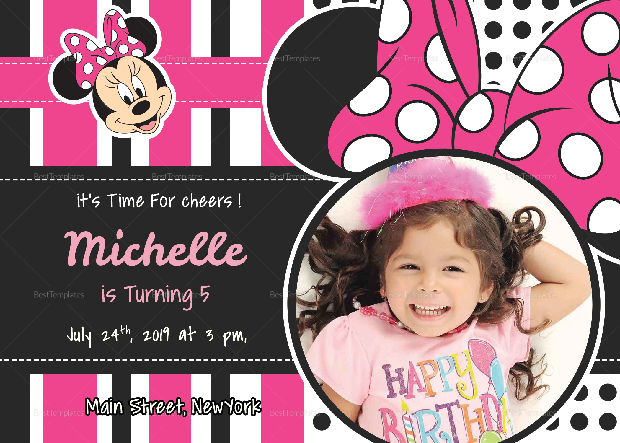 Sparkling Minnie Mouse Birthday Invitation Card Design