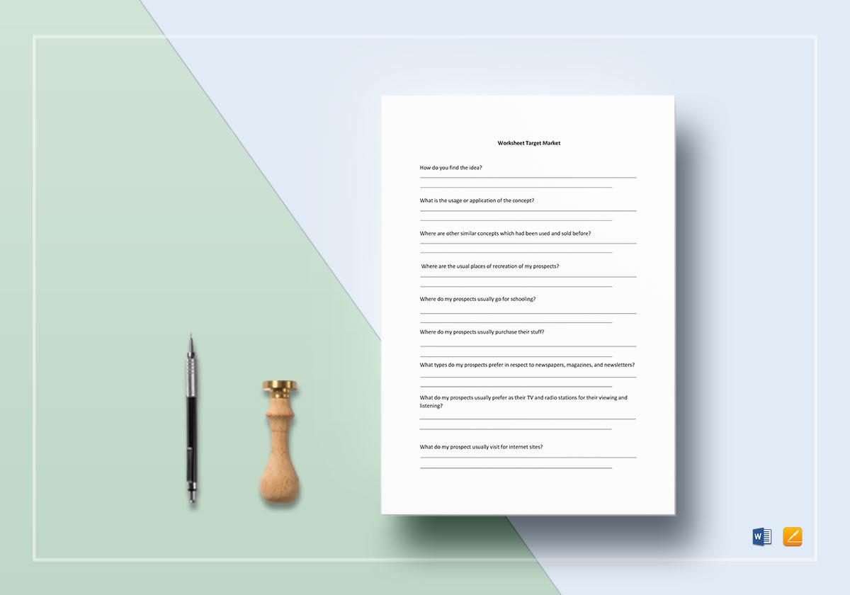Worksheet Target Market Template In Word Docs