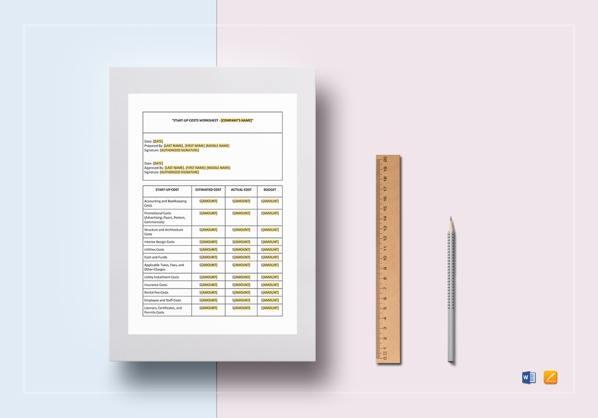 Worksheet Start Up Costs Template In Word Docs