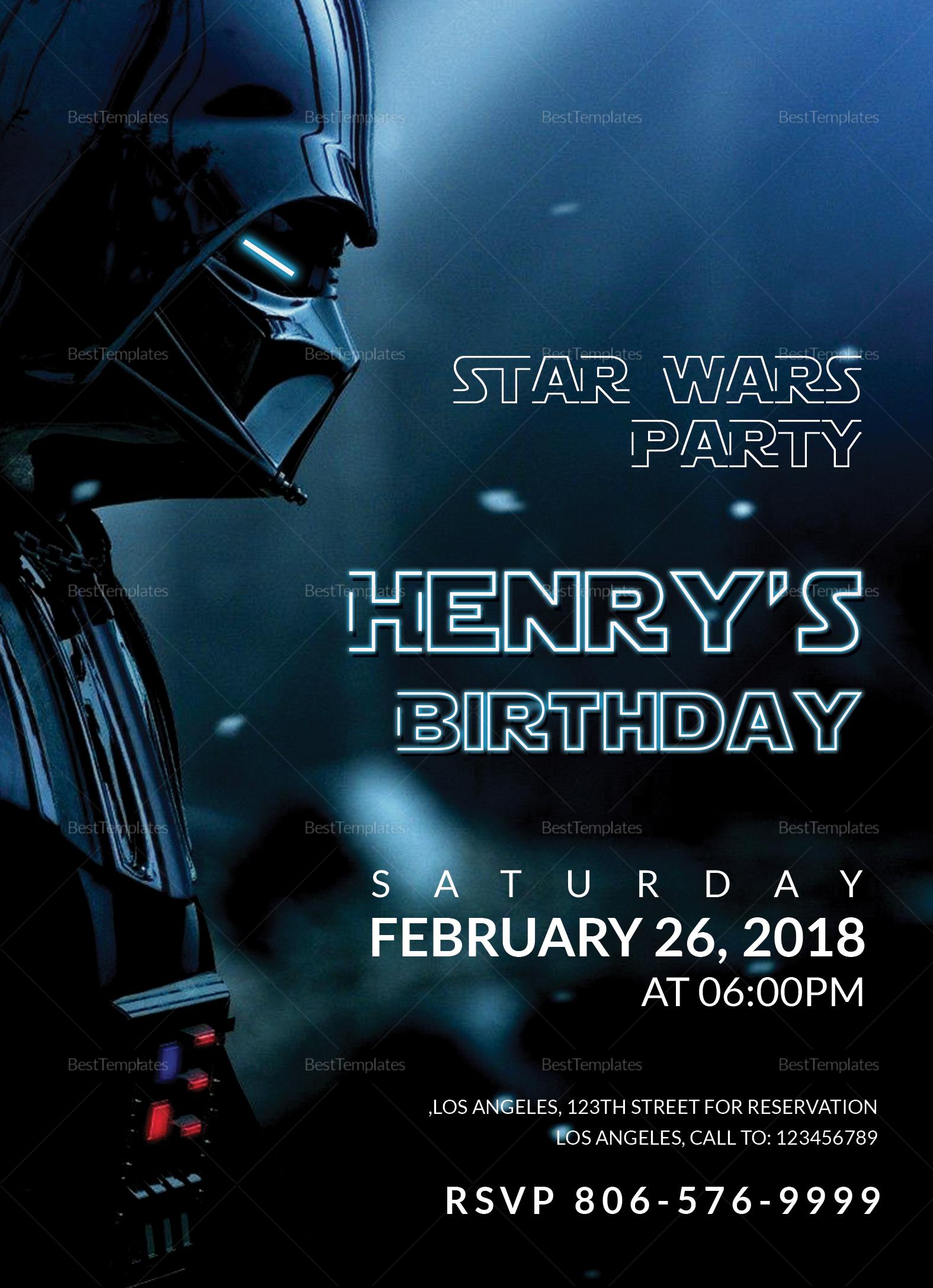 star wars birthday party invitation