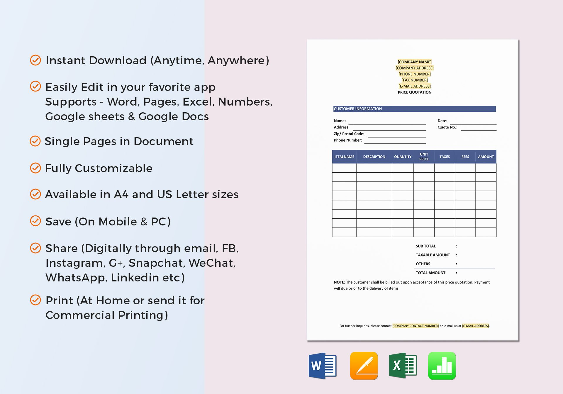 Price Quotation Template In Word Excel Docs