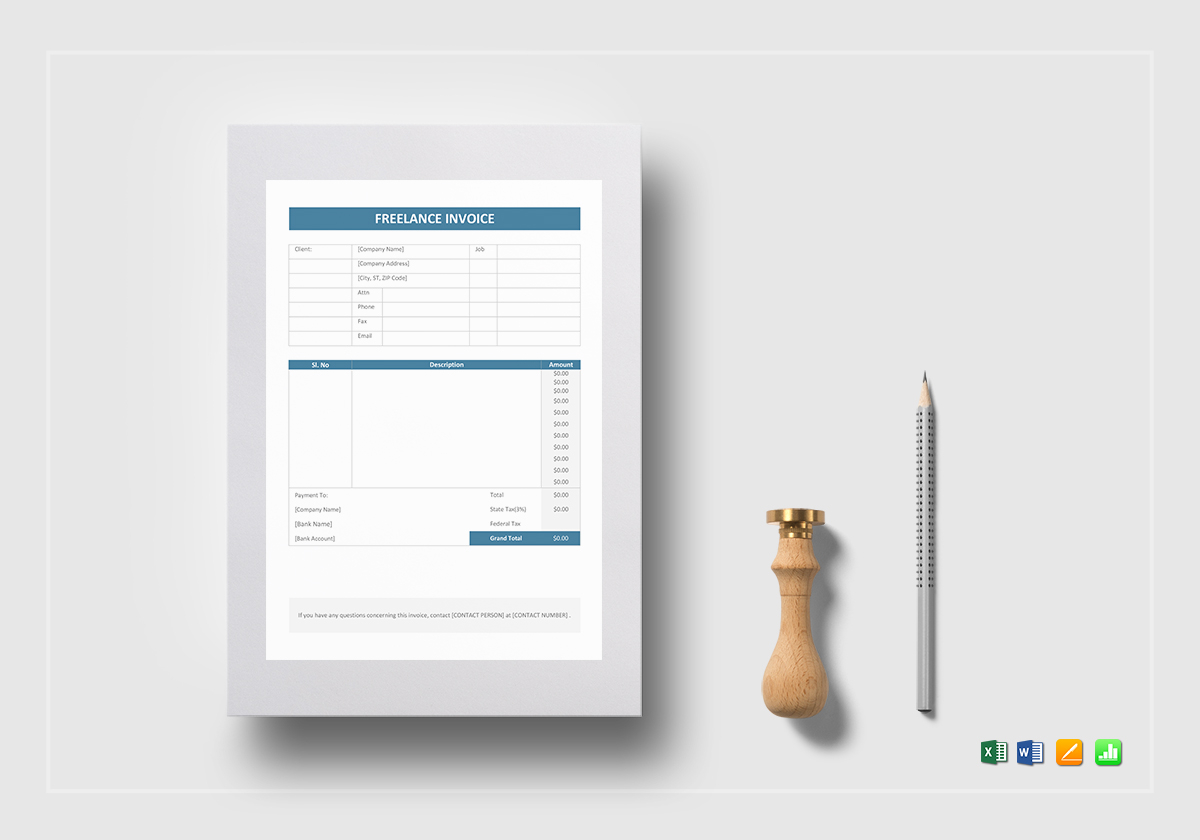Freelance Invoice Template In Word Excel Apple Pages Numbers
