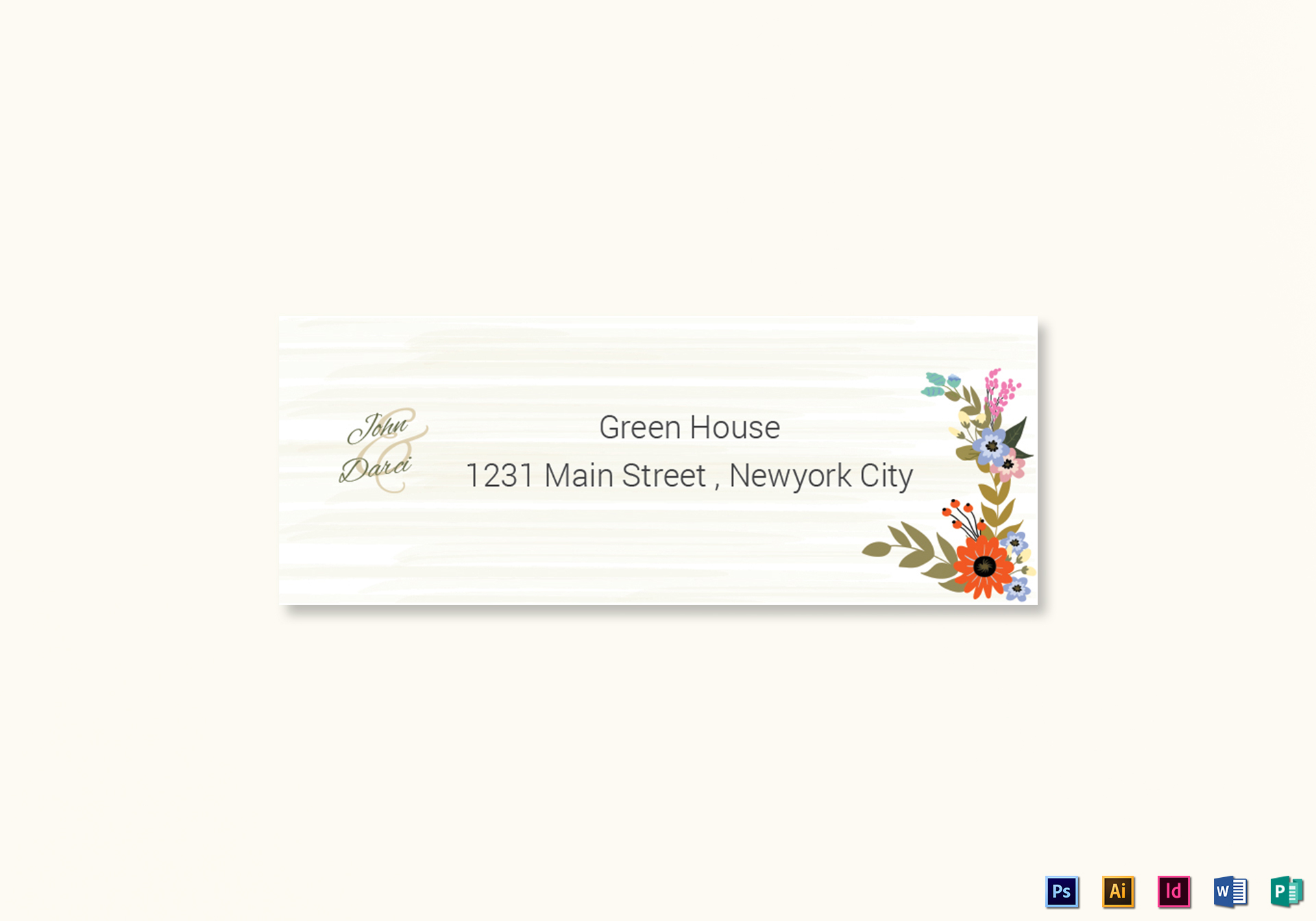 Summer Floral Wedding Address Label Card Template in