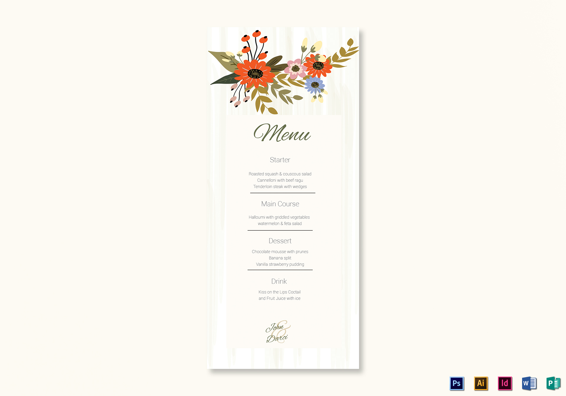 Summer Floral Wedding Menu Card Design Template in