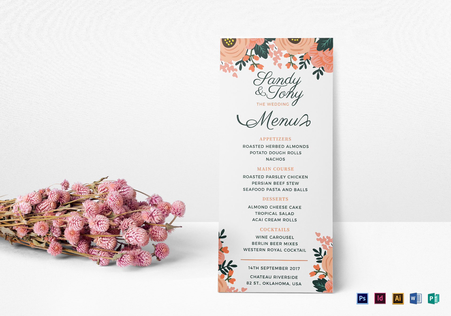 Wedding Menu Design Template in PSD Word Publisher