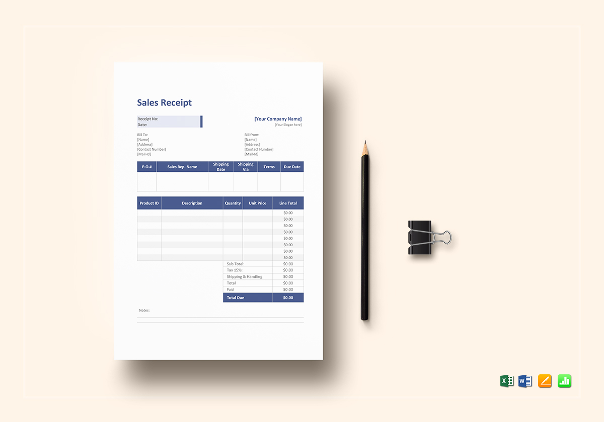 Sales Service Receipt Template In Word Excel Apple Pages