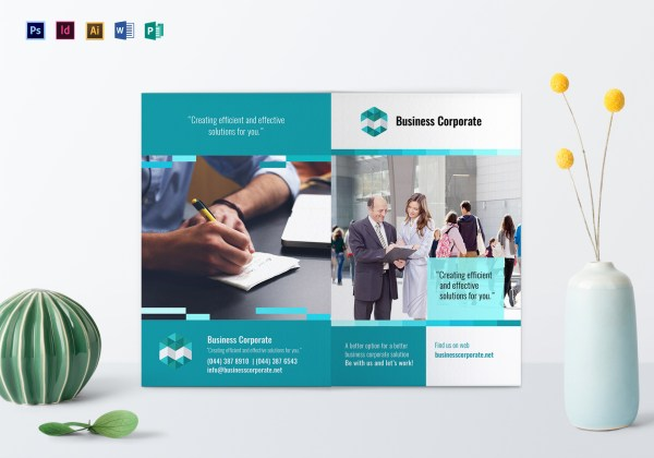 Bi-fold Business Corporate Brochure Design Template In Psd