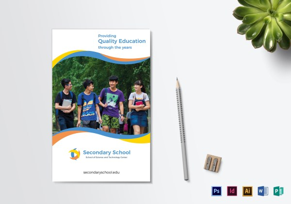 School Education Bi-fold Brochure Design Template In Psd