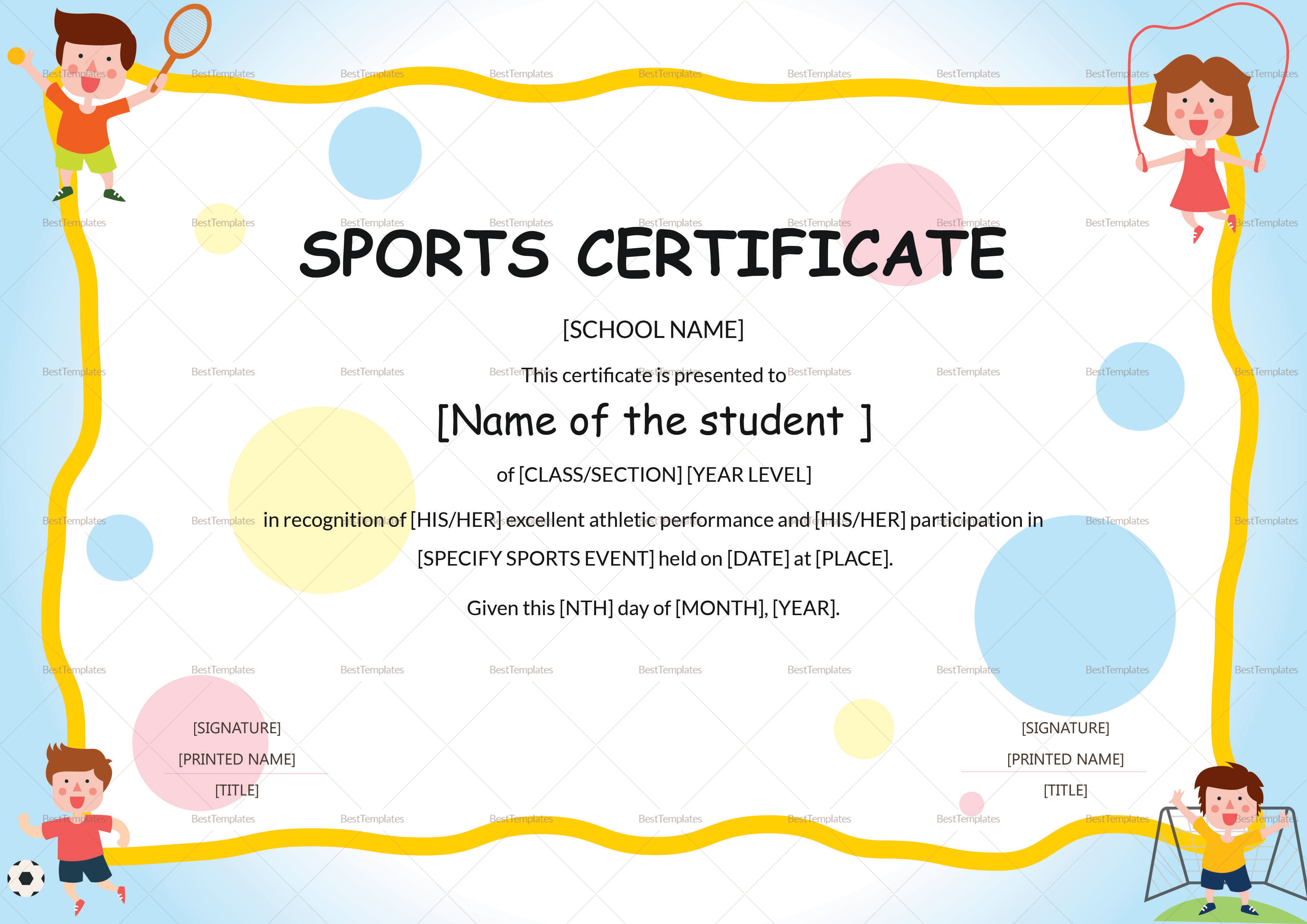 Kids Sports Participation Certificate Design Template In