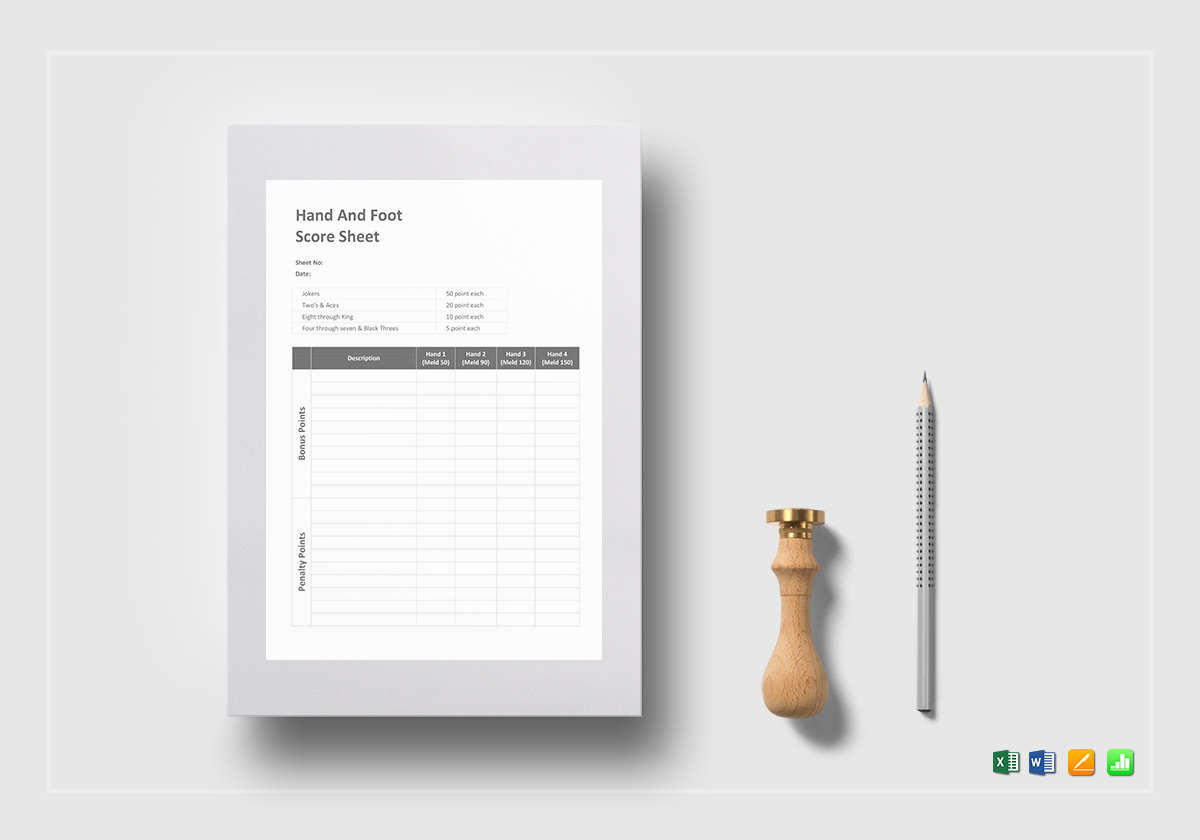 Hand And Foot Score Sheet Template In Word Excel Apple
