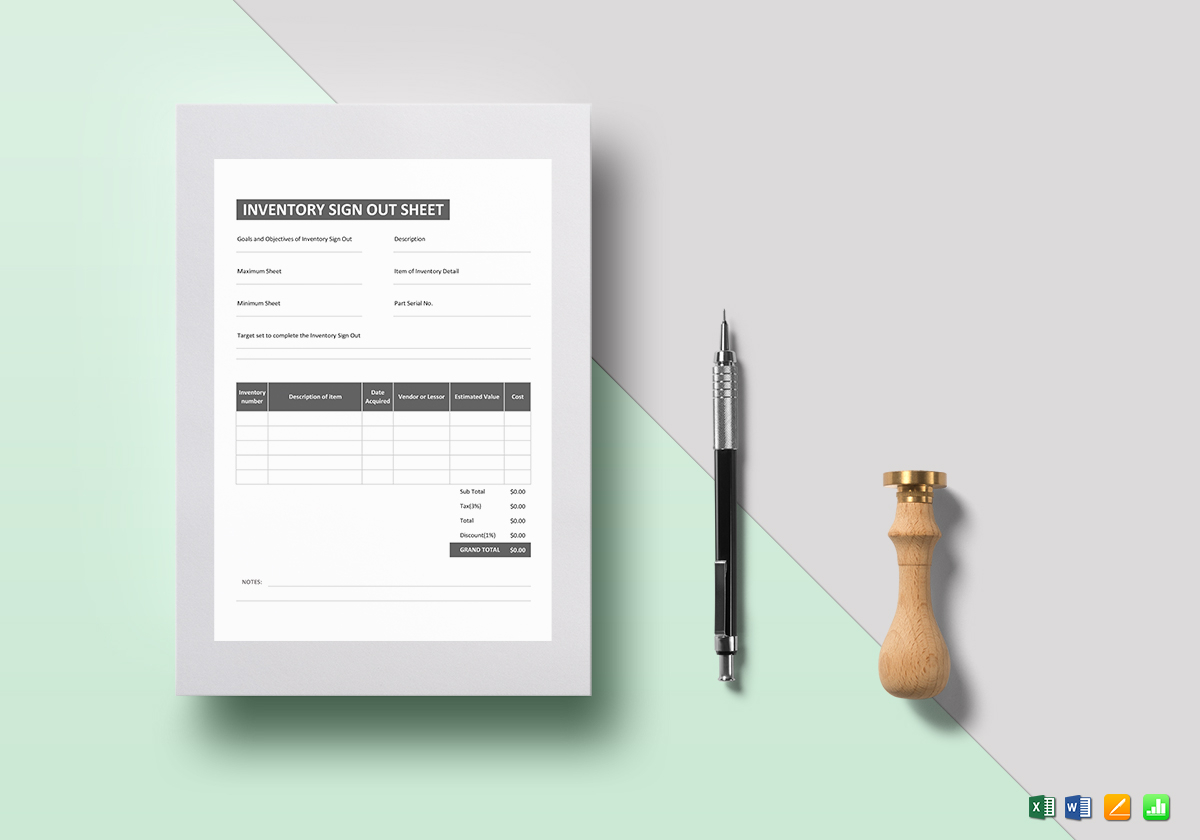 Inventory Sign Out Sheet Template in Word, Excel, Apple Pages, Numbers