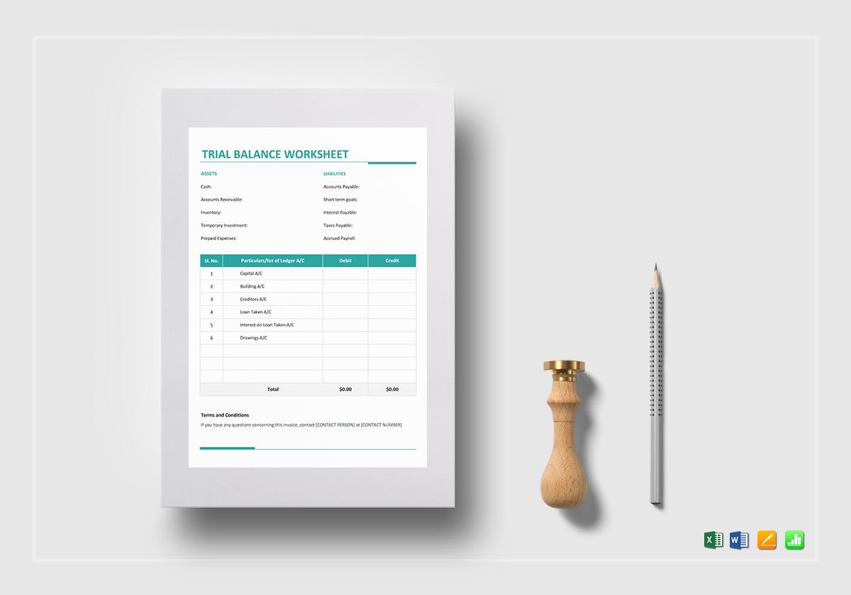 Trial Balance Worksheet Template In Word Excel Apple