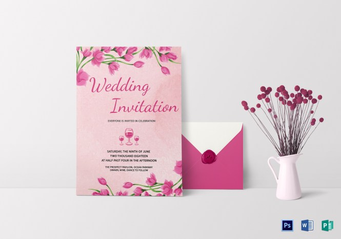 Pink Fl Wedding Invitation Card Template