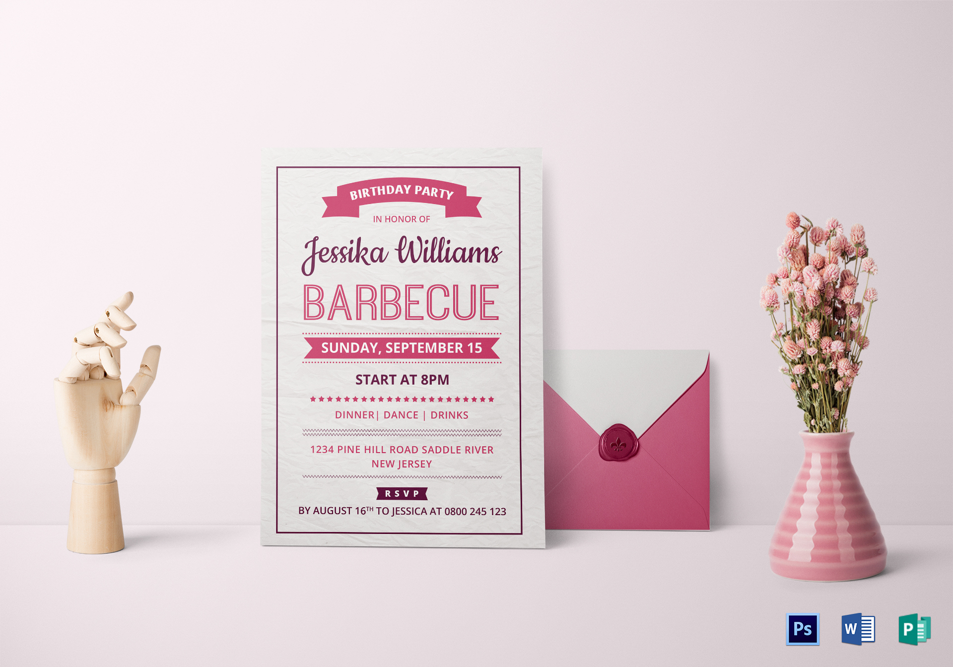 bbq birthday party invitation card