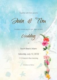 Beach Wedding Invitation Card Template in PSD, Word ...