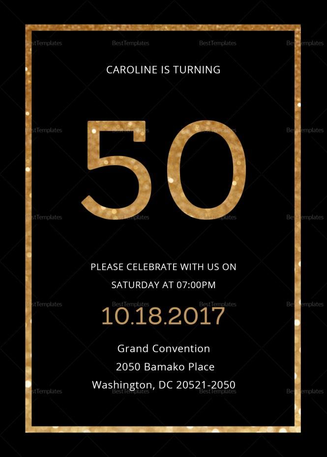 Gold 50th Birthday Invitation Design