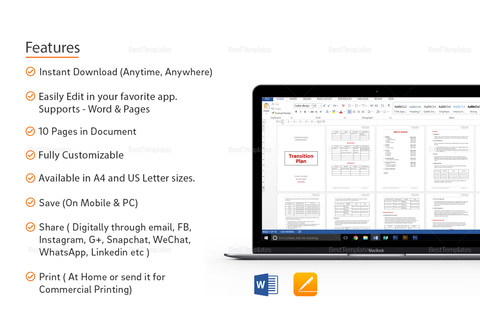 Transition Plan Template in Word, Google Docs, Apple Pages