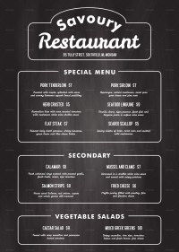 Chalkboard Menu Template. printable chalkboard menu