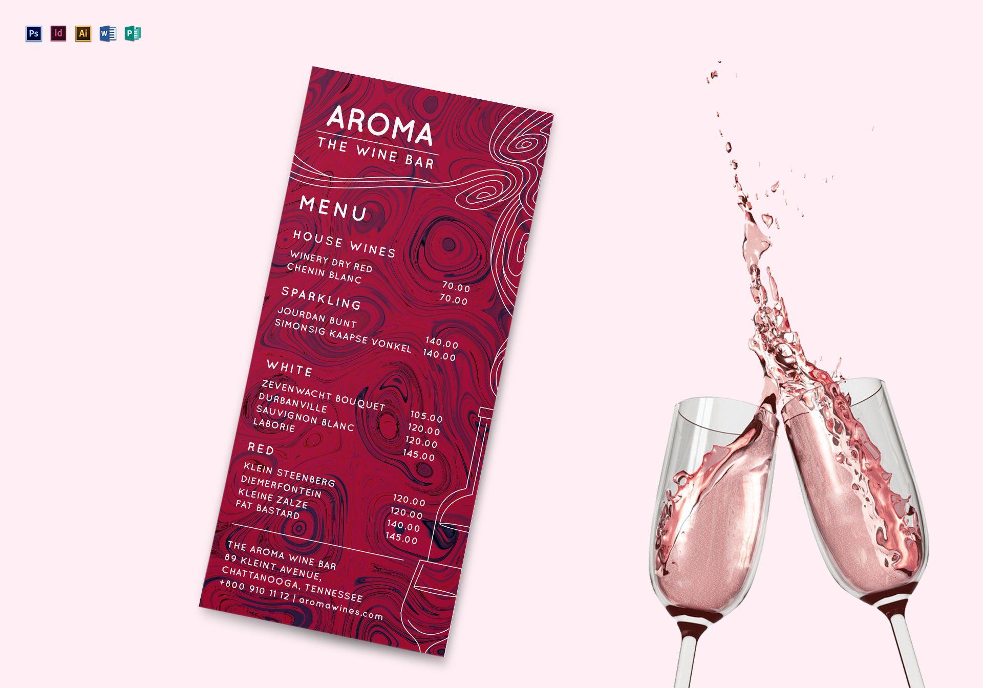 Wine Bar Menu Design Template in PSD, Word, Publisher, Illustrator ...