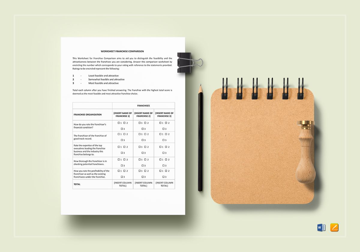 Worksheet Franchise Comparison Template In Word Apple Pages
