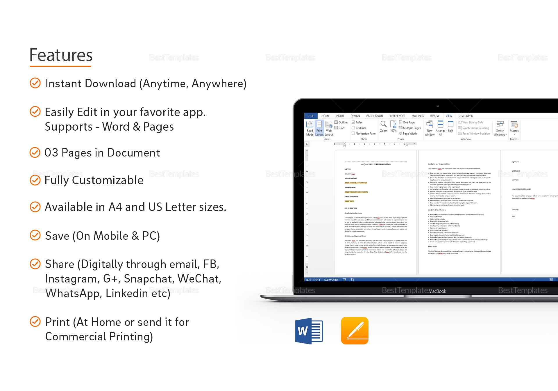 Data Entry Keyer Job Description Template in Word, Apple Pages