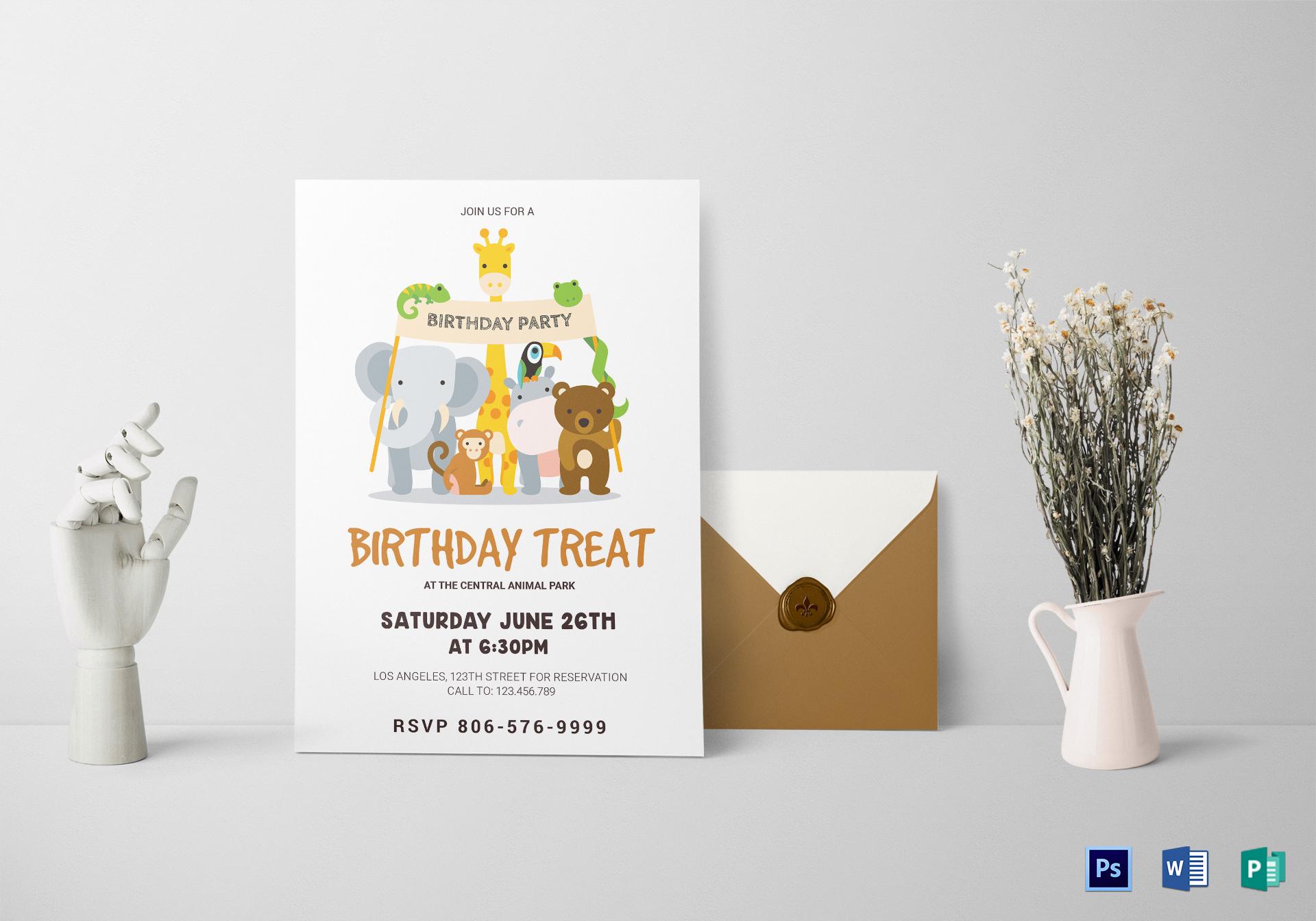 animals birthday invitation card design