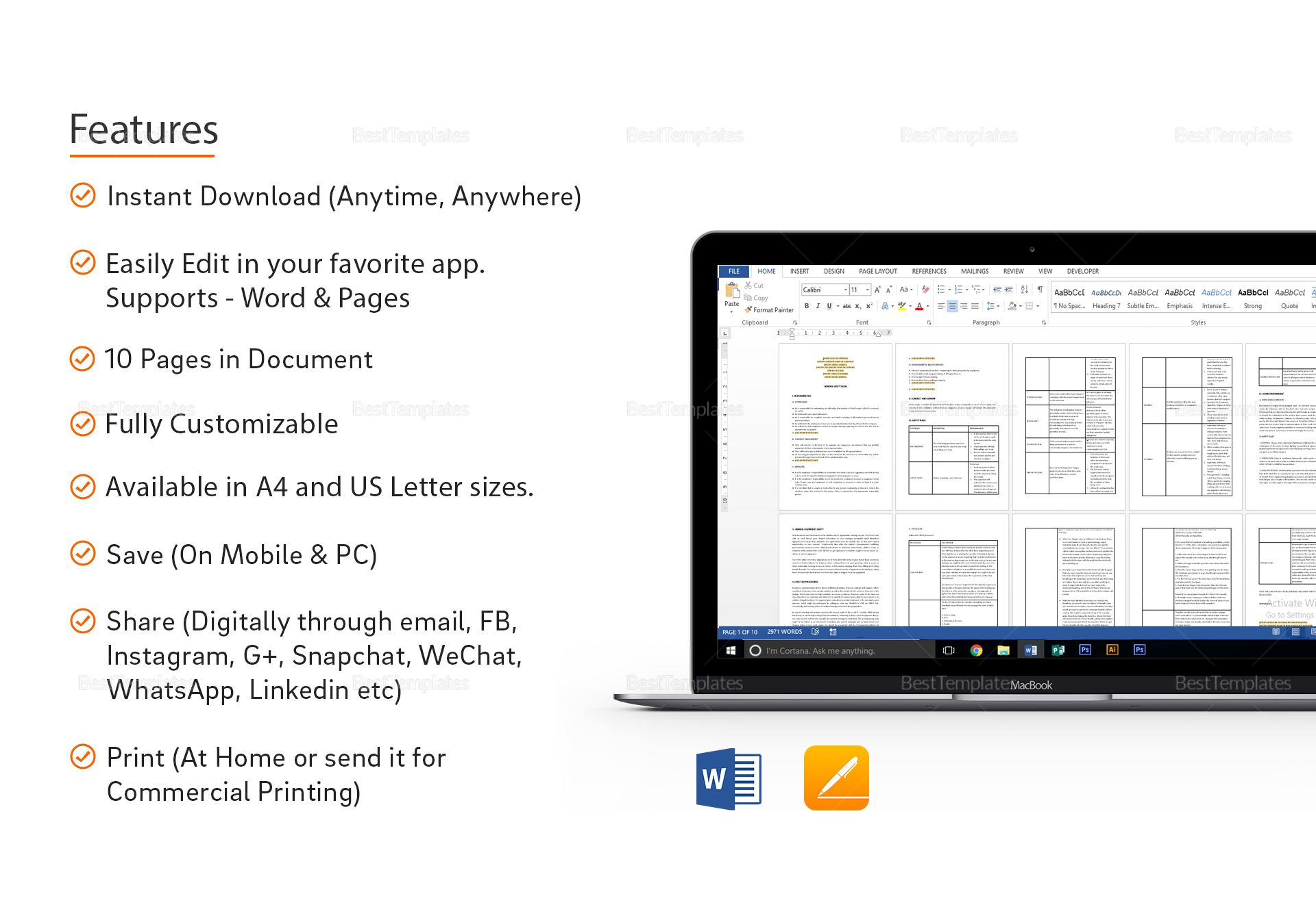 General Safety Rules Template in Word, Apple Pages
