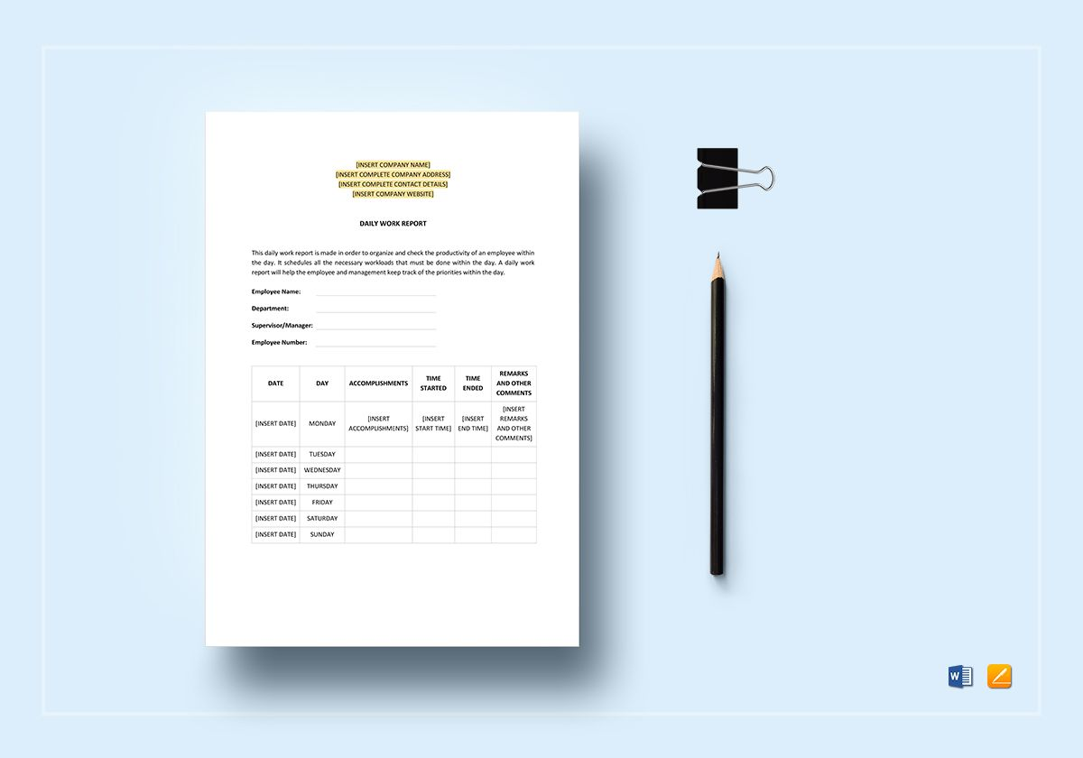 You can find practical, colorful files in word, excel, powerpoint and pdf formats. Daily Work Report Template In Word Apple Pages