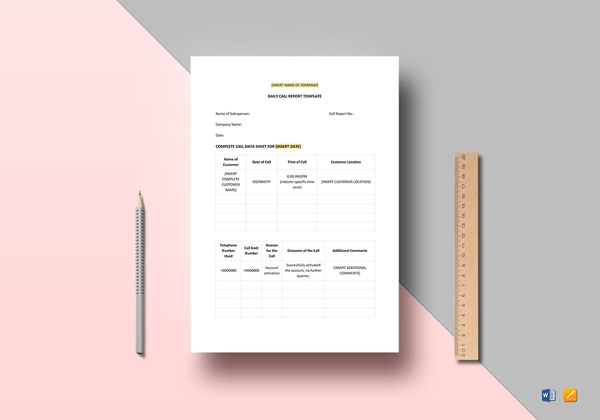 Create research papers and reports in a variety of styles, including apa, and mla. Daily Call Report Template In Word Apple Pages