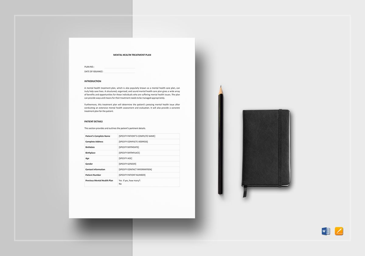 If social media is affecting. Mental Health Treatment Plan Template In Word Apple Pages