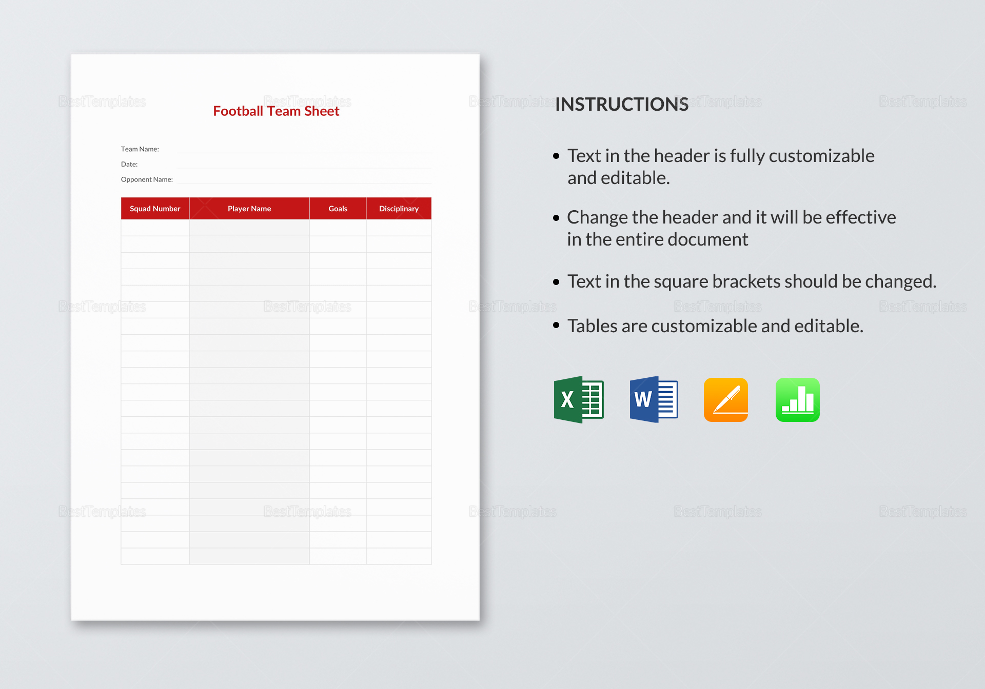 Football Team Sheet Template In Word Excel Apple Pages Numbers