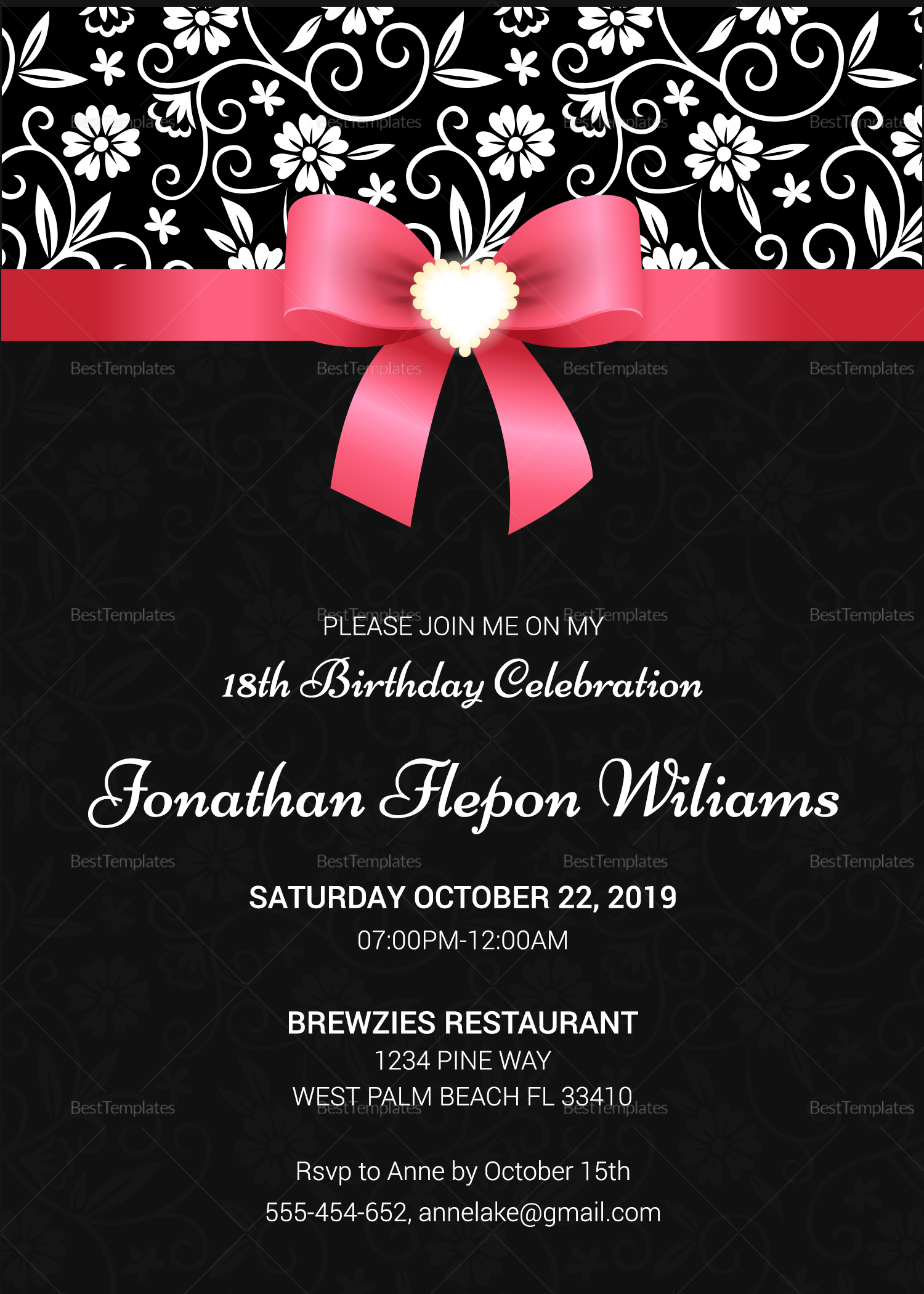 classic debut invitation card design