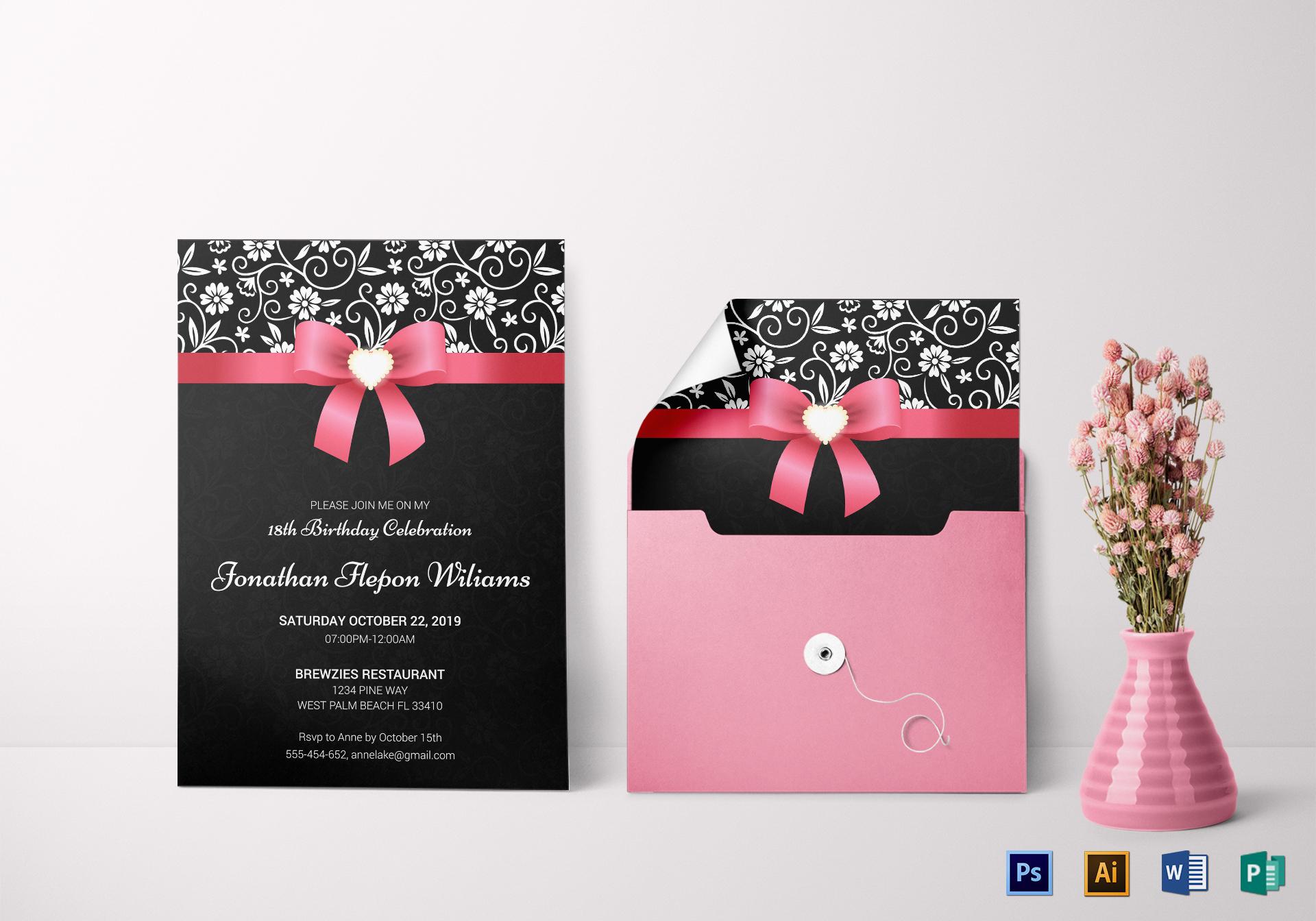 classic debut invitation card design