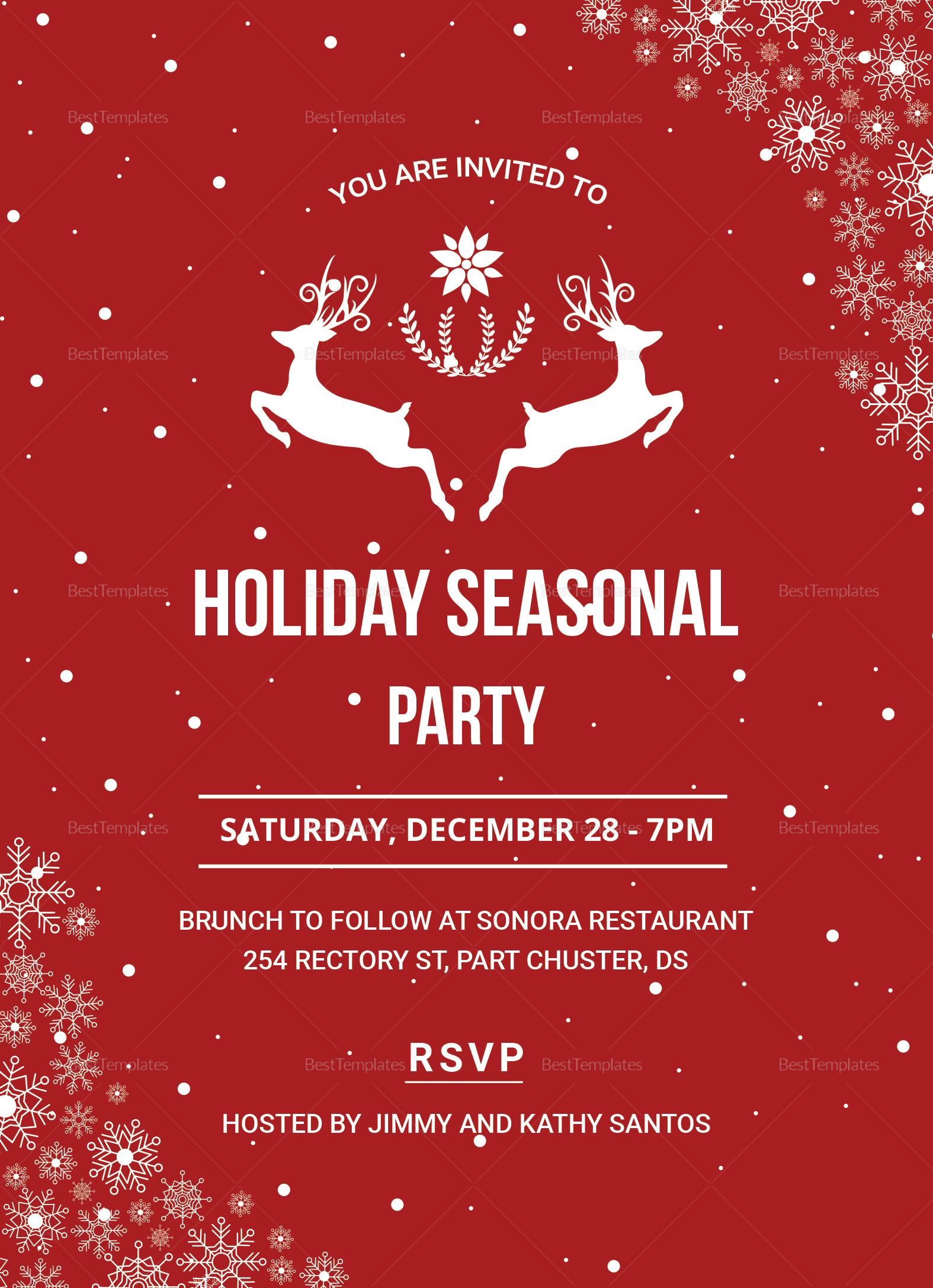 Festive Holiday Party Invitation Design Template In PSD Word Publisher