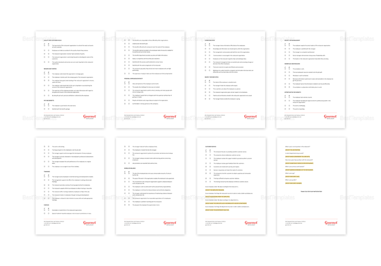 Restaurant Employee Survey Template in Word, Apple Pages