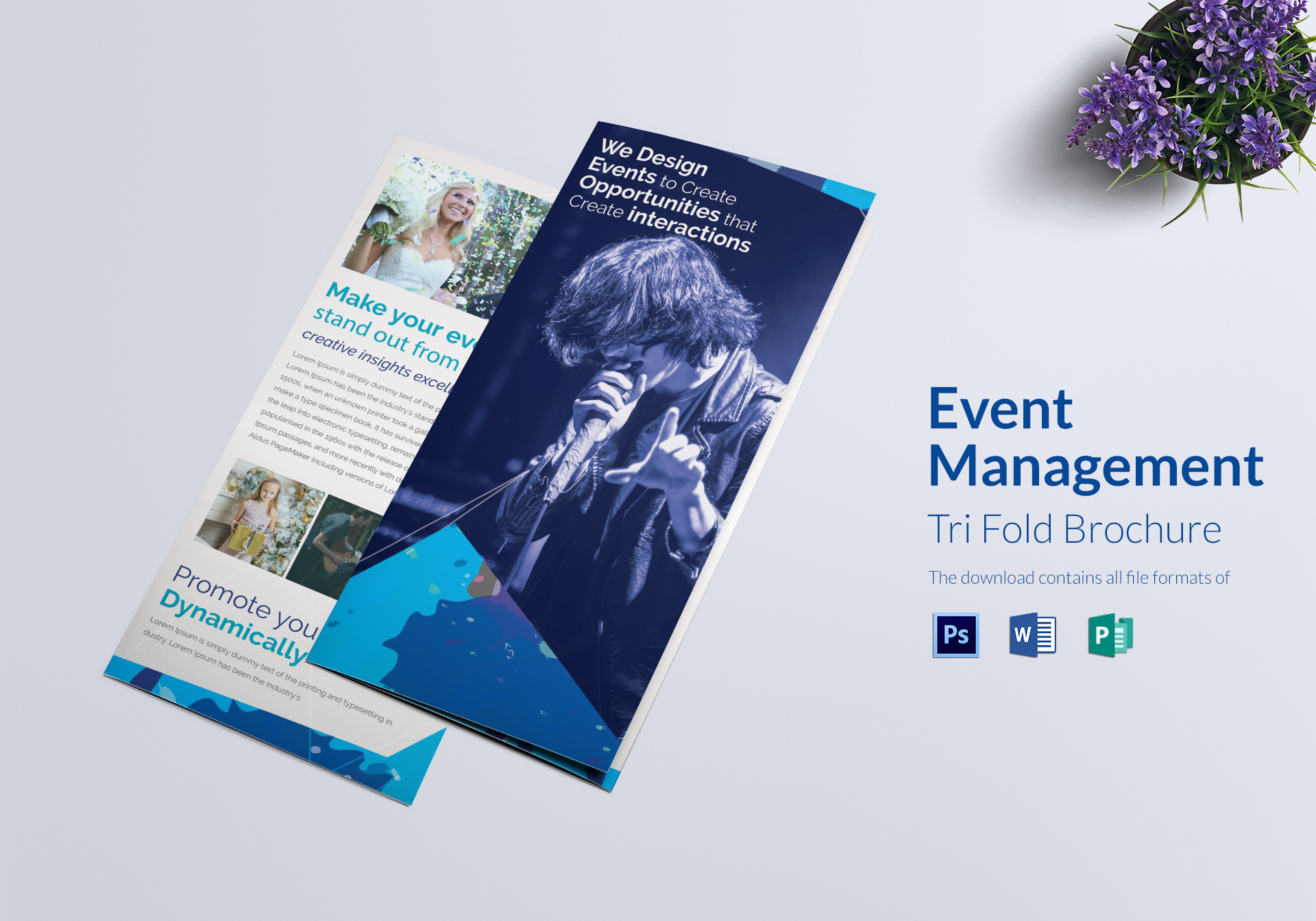 Event Management Tri Fold Brochure Design Template In Word PSD
