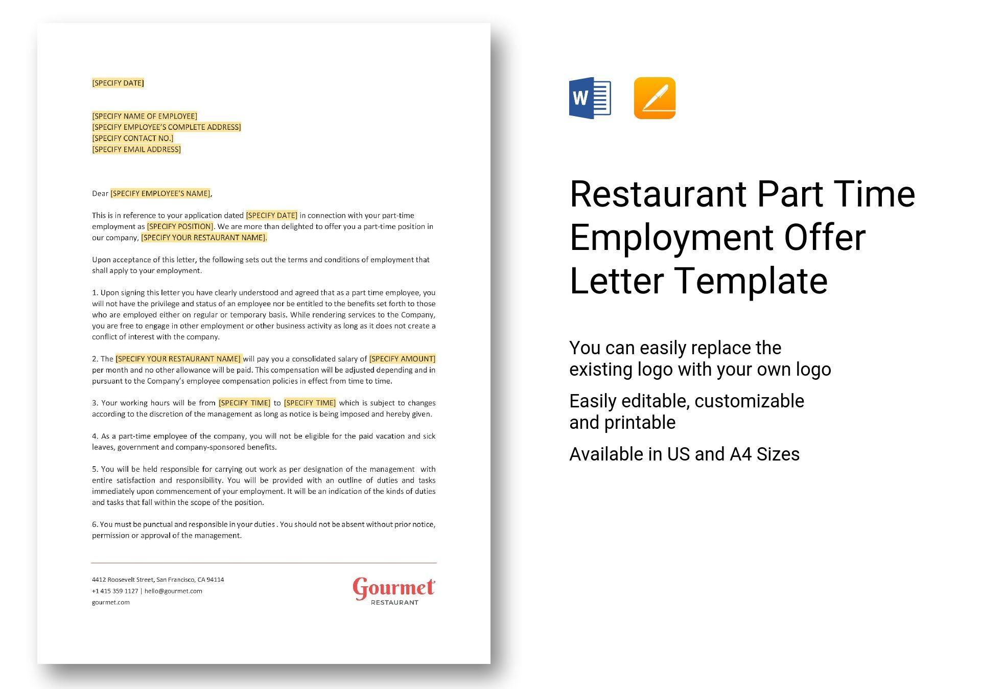 Image of employment offer letter template for free letter template word letter. Restaurant Part Time Employment Offer Letter Template In Word Apple Pages