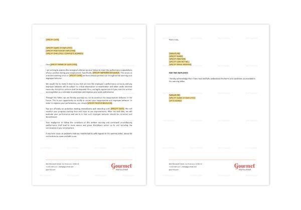 Restaurant Employee Warning Letter Template in Word, Apple