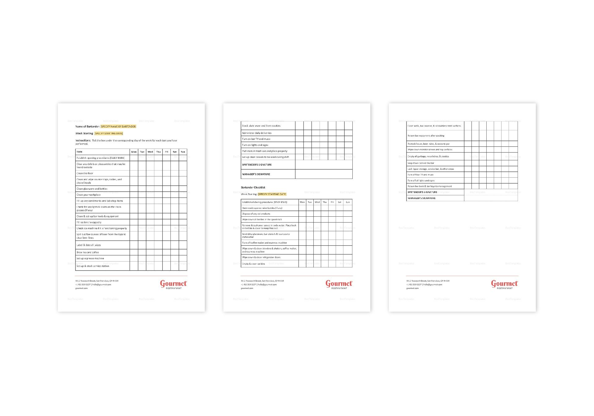 Restaurant Bartender Checklist Template in MS Word, Pages