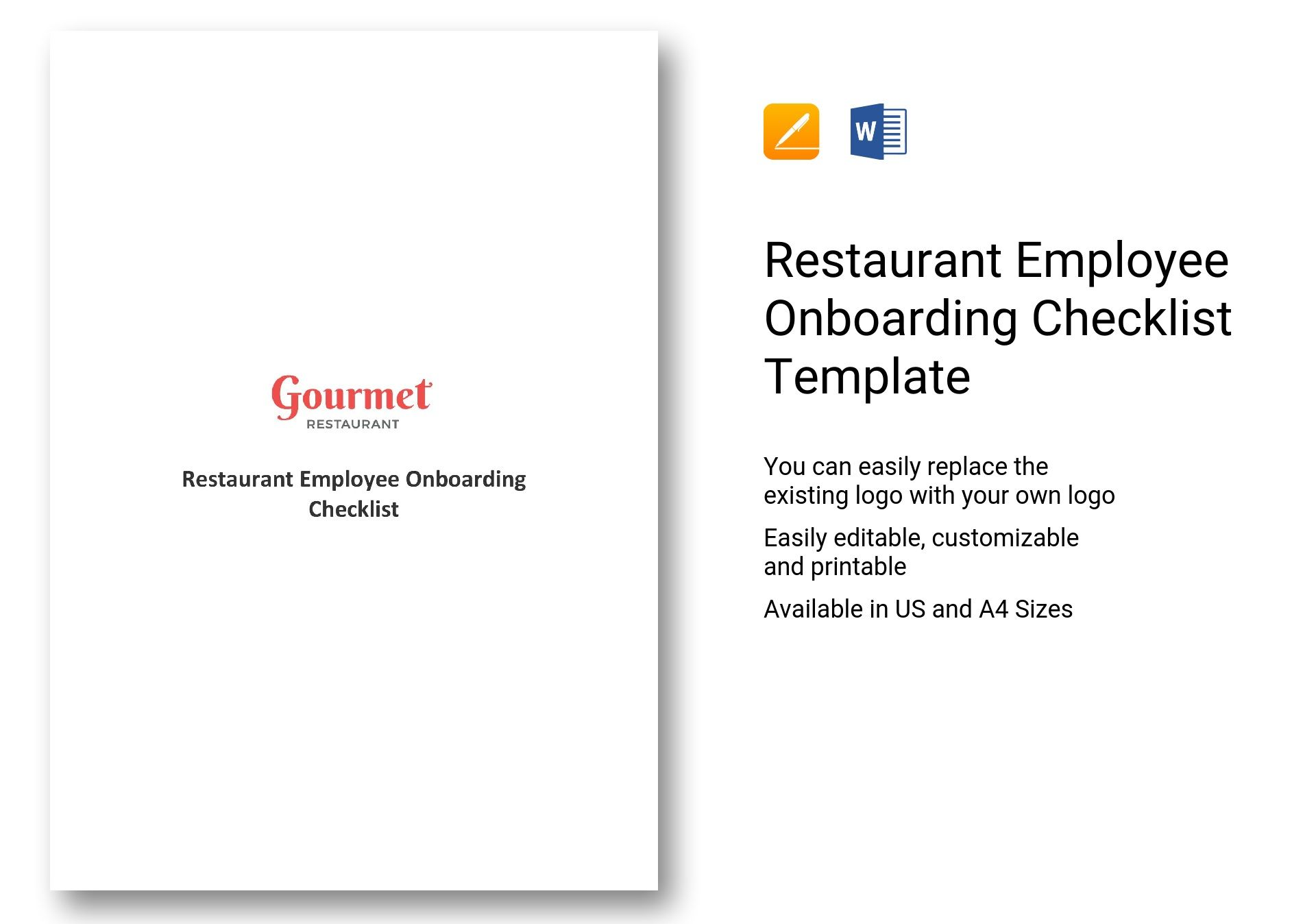 Restaurant Employee Onboarding Checklist Template In MS