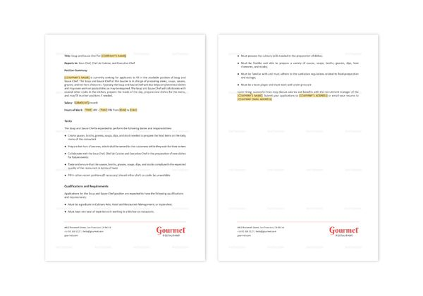 Restaurant Soup and sauce Chef Job Description Template in