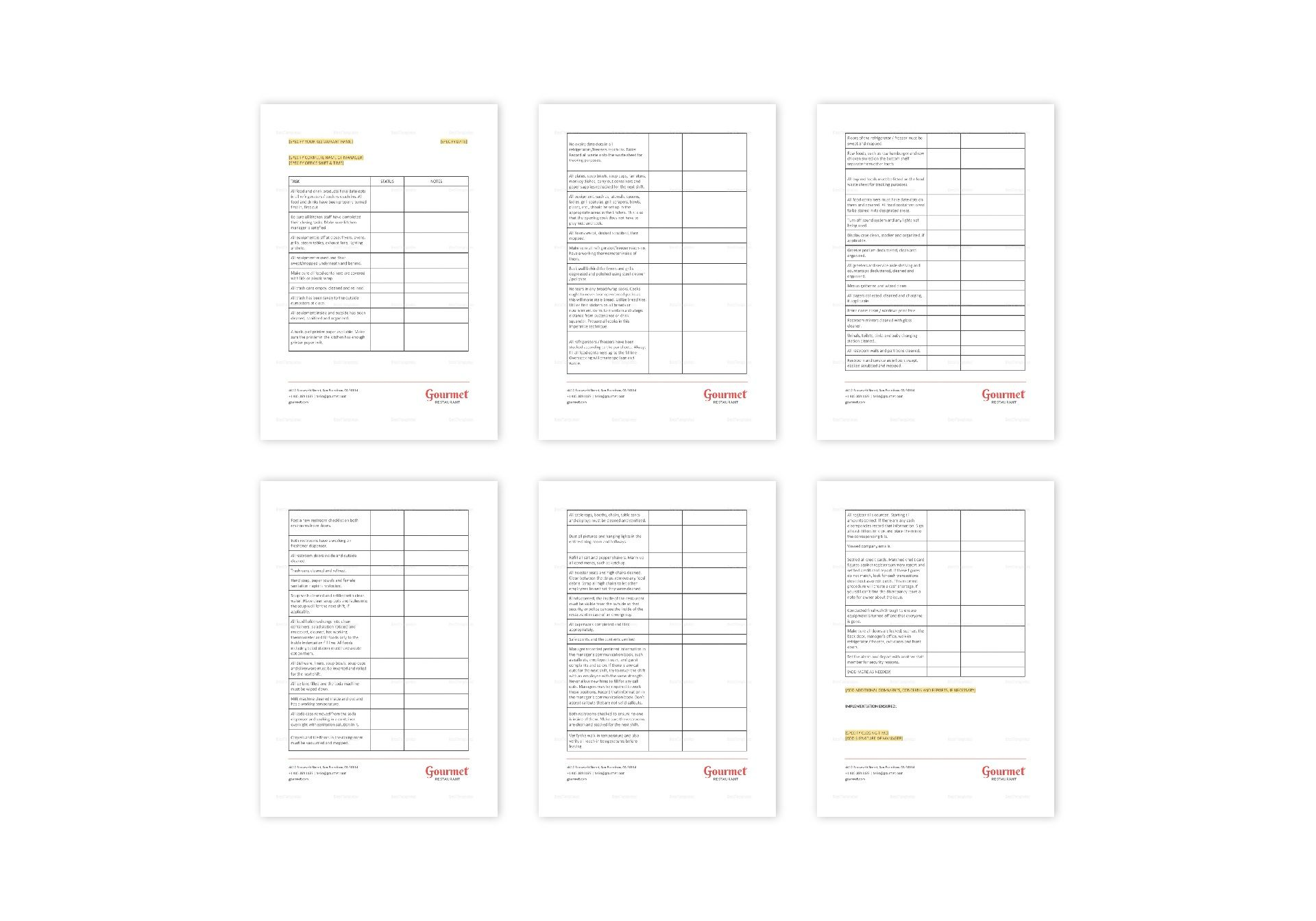 Restaurant Manager's Closing Checklist Template in MS Word
