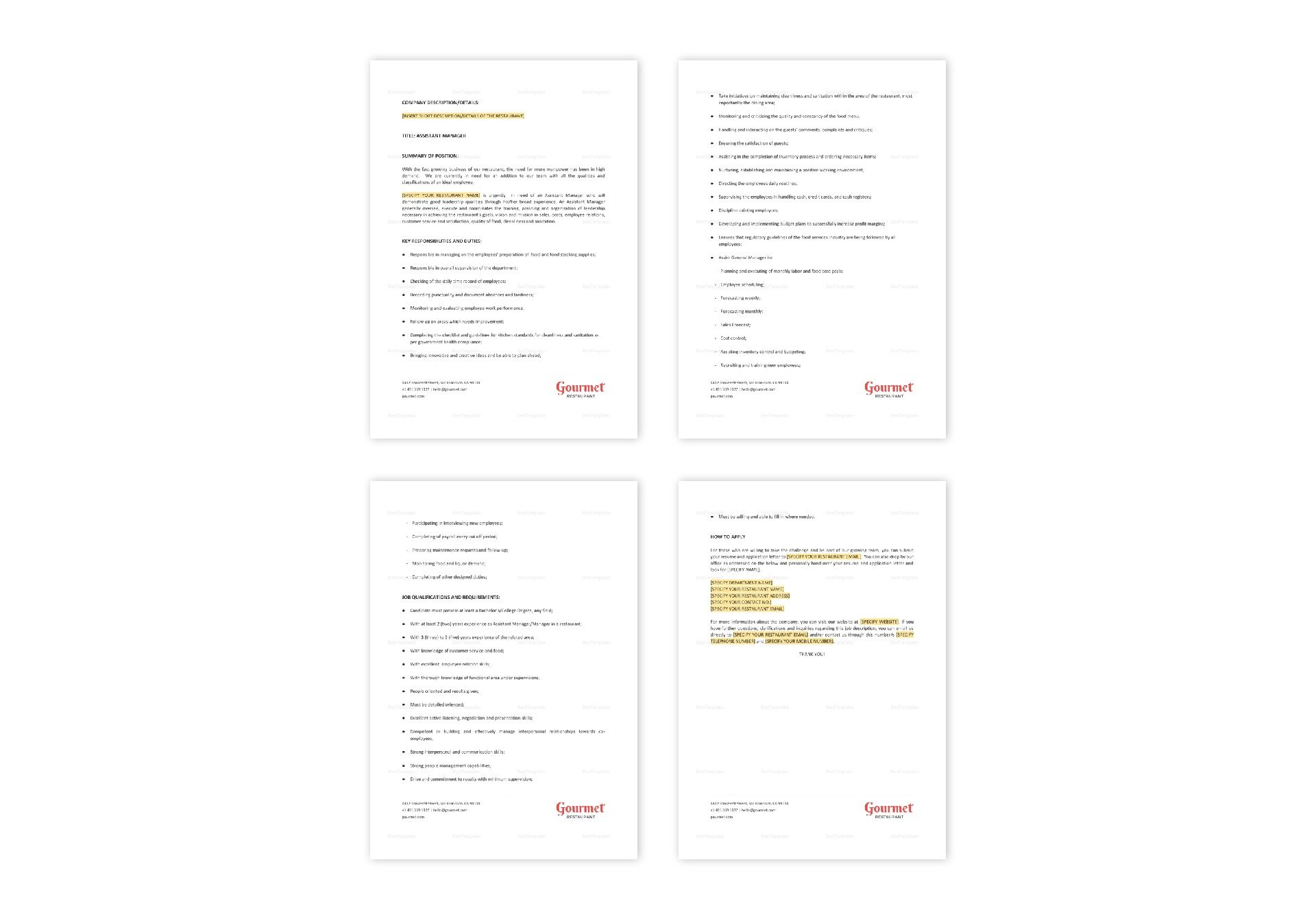Restaurant Assistant Manager Job Description Template in