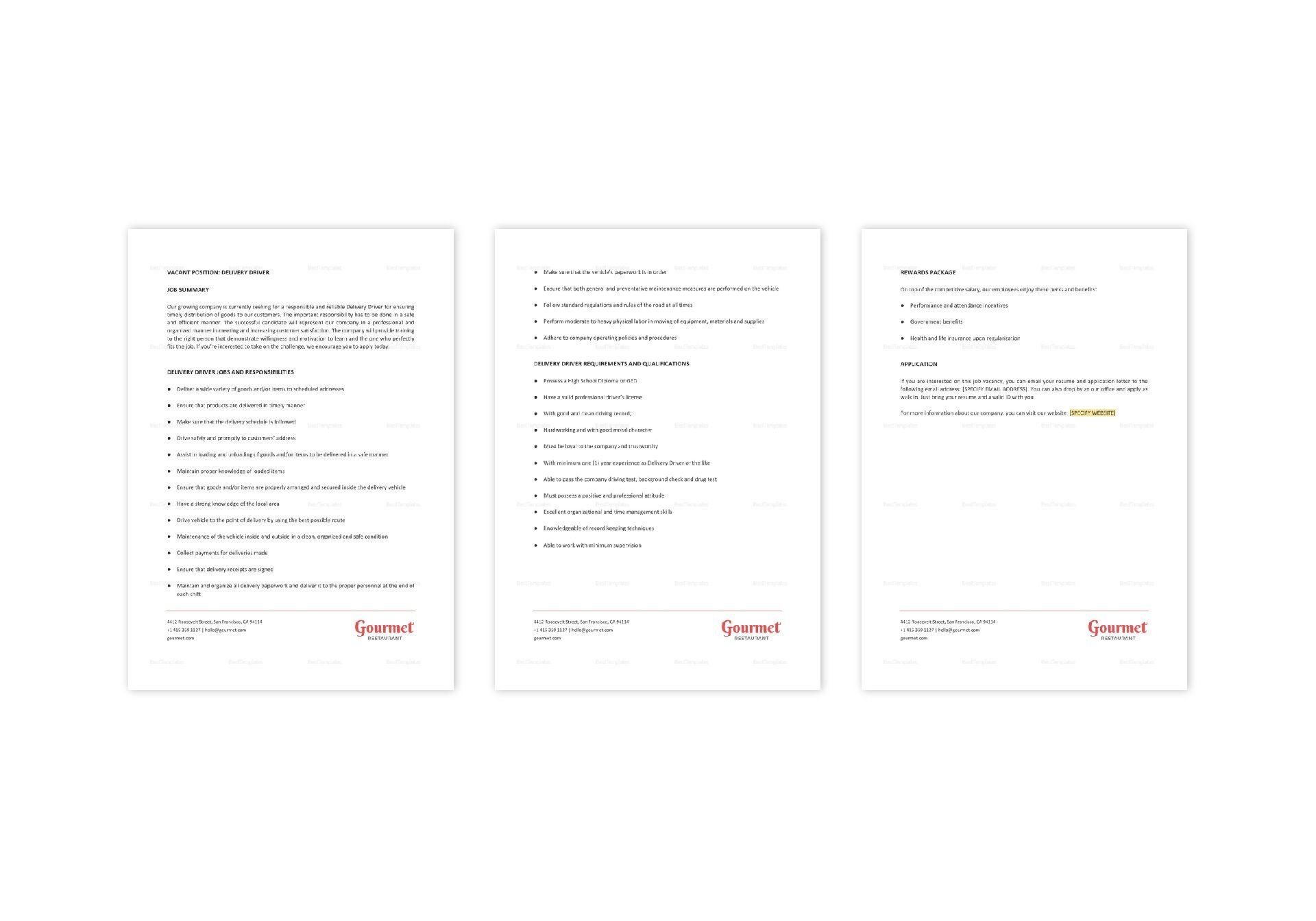 Restaurant Delivery Driver Job Description Template in