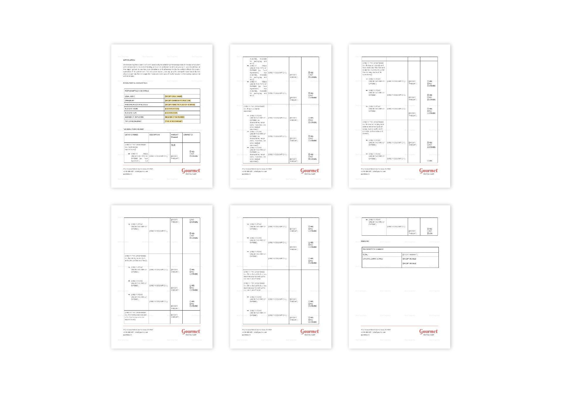Restaurant Tax Deduction Checklist Template in Word, Apple