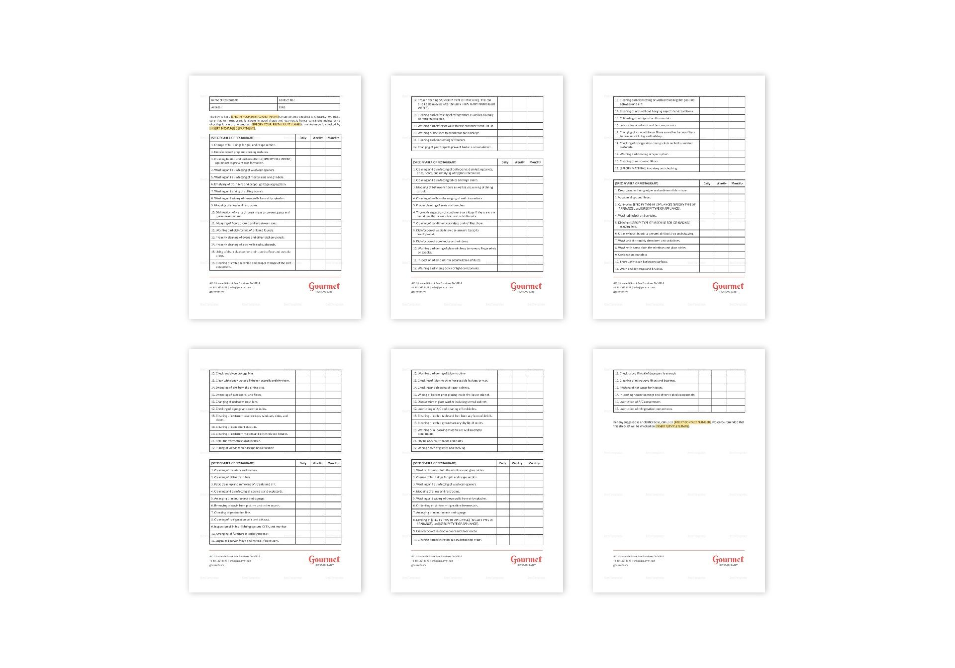 Restaurant Maintenance Checklist Template in MS Word, Pages